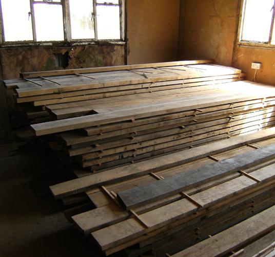 Rough sawn oak boards