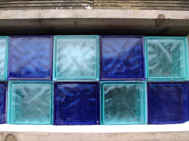 Modern Glass Bricks in Light and Dark Blue