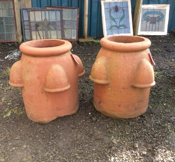 Pair of reclaimed beehive chimney pots