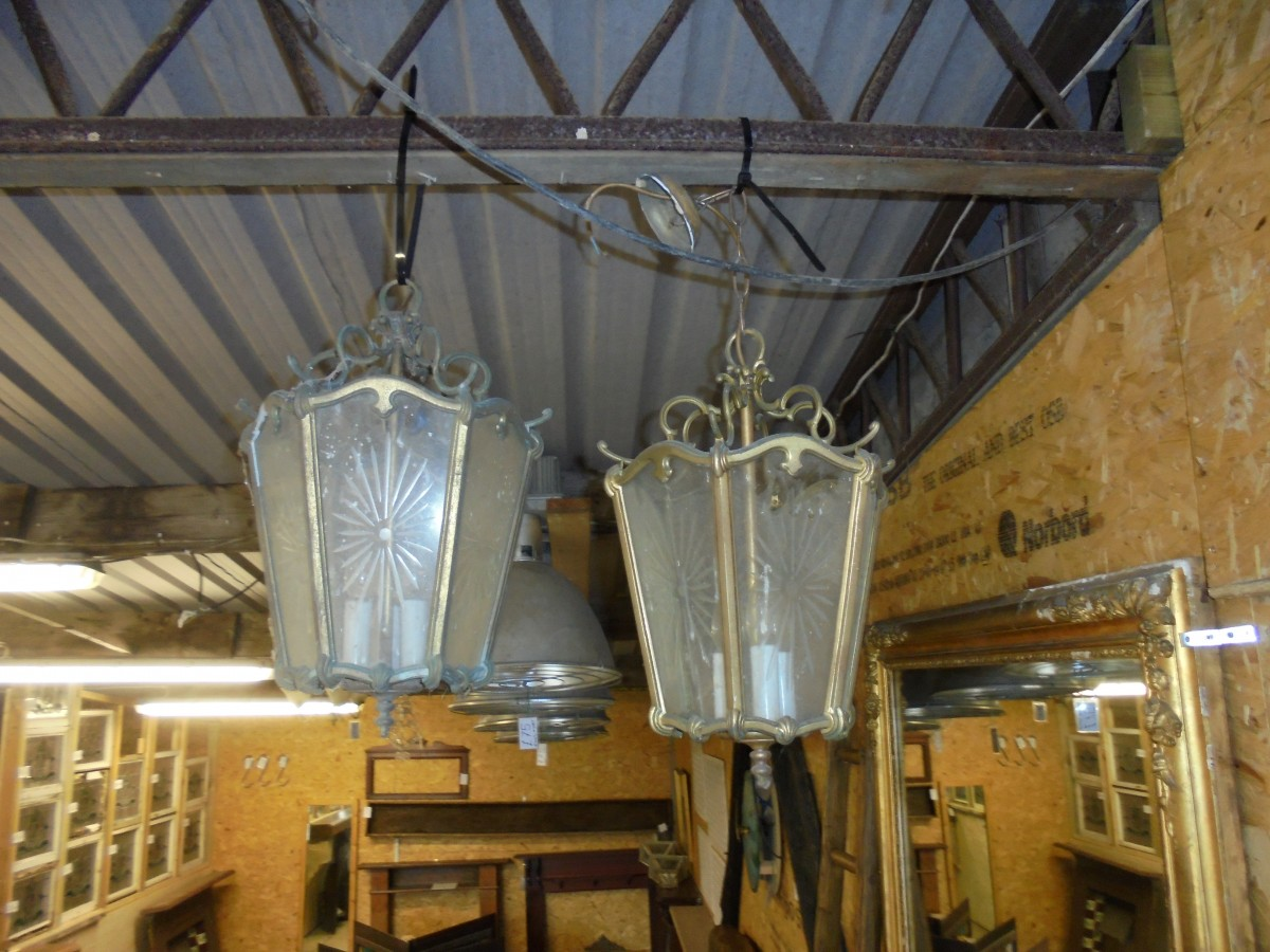 Pair of Hanging Glass Lights