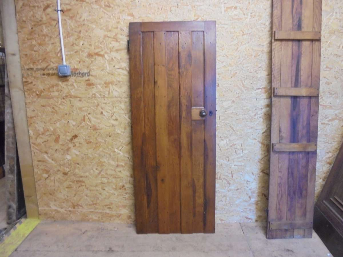 salvaged and varnished ledge door