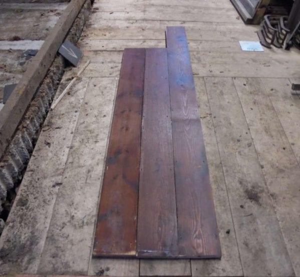 reclaimed varnished pine boards