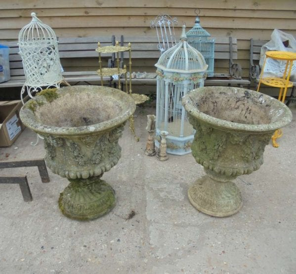 Reclaimed Reconstituted Urn Pair
