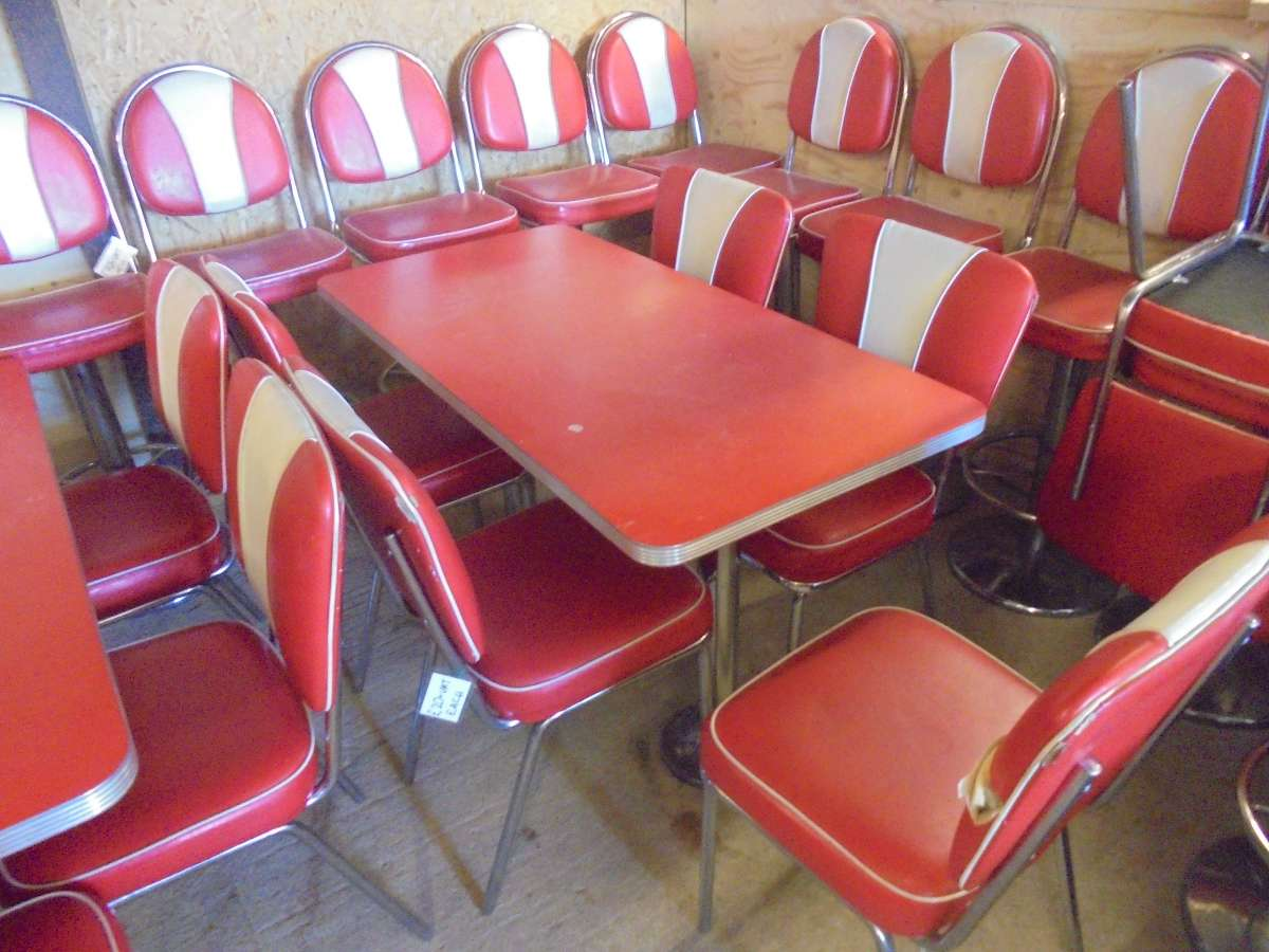 Reclaimed Red American Style Diner Table Authentic Reclamation