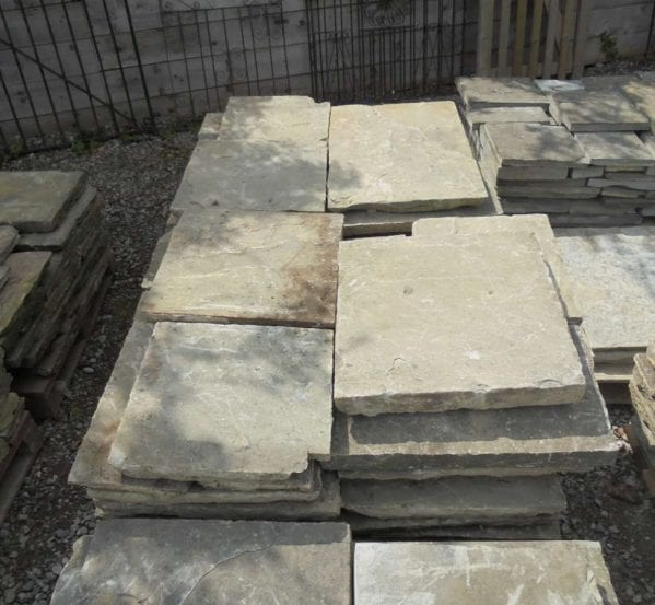 Modern reclaimed york stone slabs.