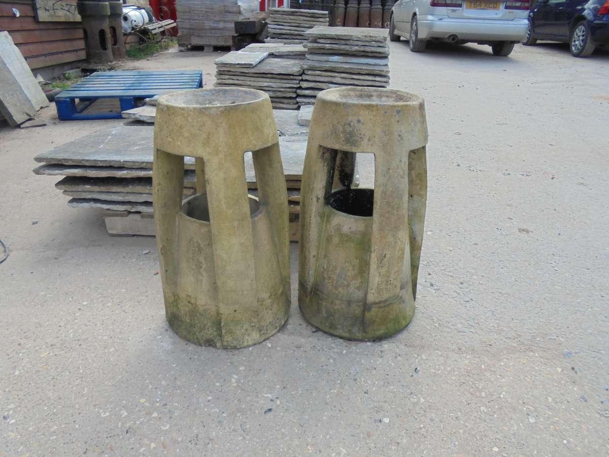 Fawcett Patent Down Draught Preventing Chimney Pot Pair