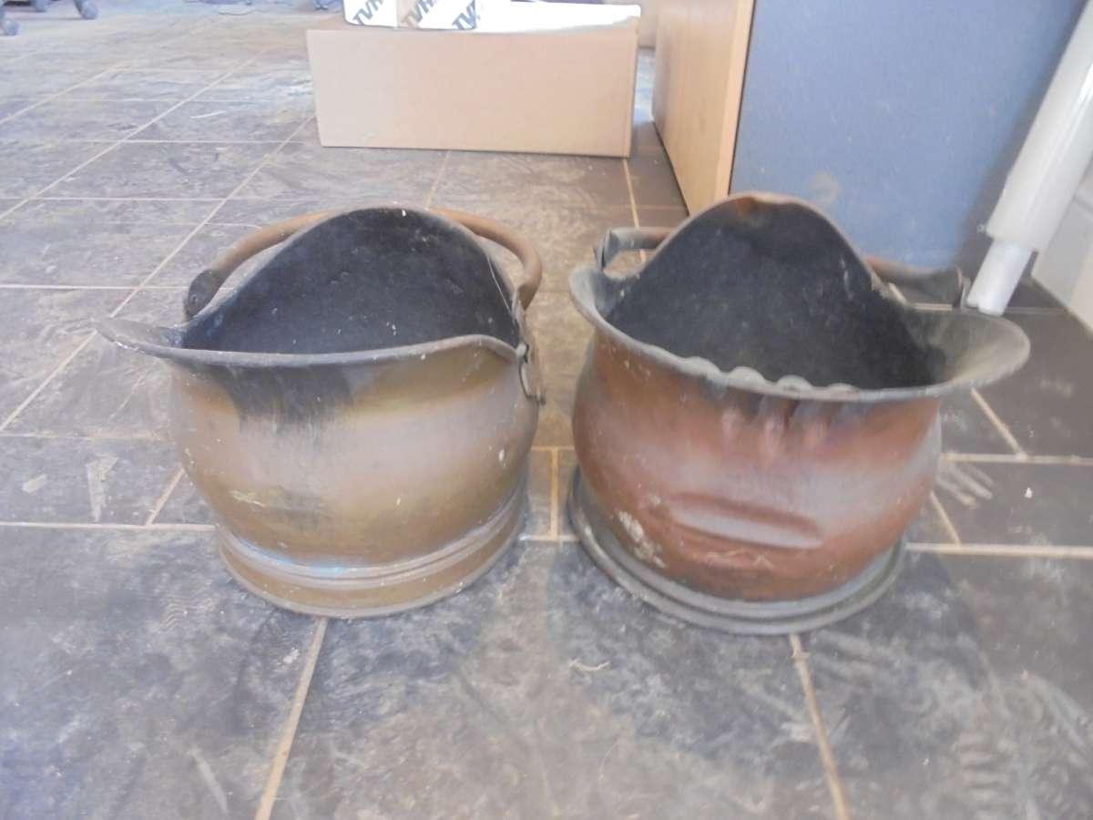 Reclaimed Cast Iron Coal Scuttles Pair