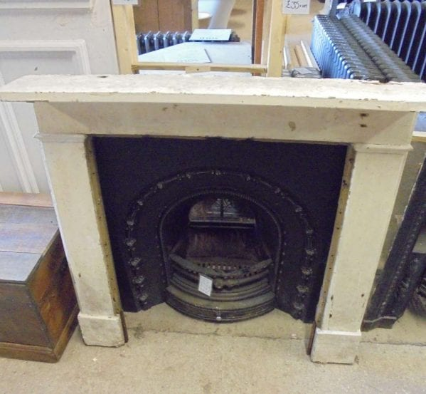 Reclaimed White Wooden Fire Surround