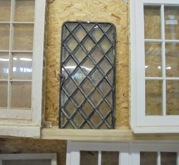 Reclaimed Metal Diamond Pattern Window Pair