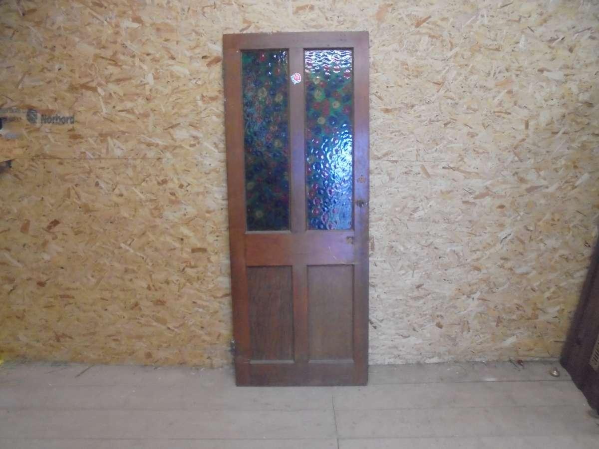 Reclaimed Stained Glass Half Glazed Door