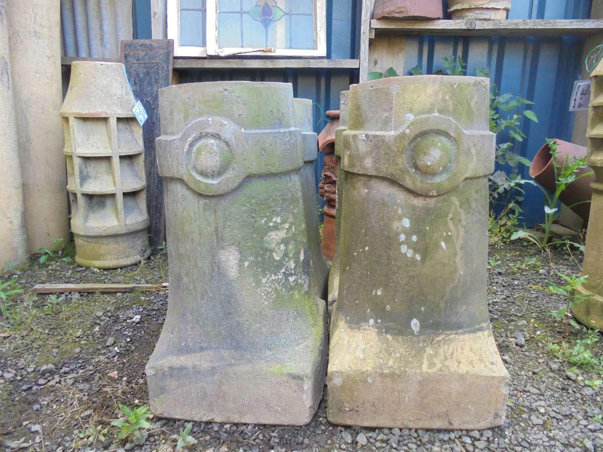 Buff Terracotta Decorative Chimney Pot Set