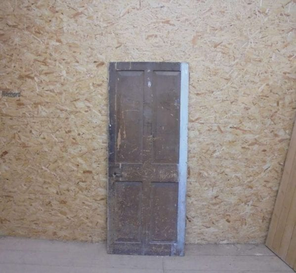 Reclaimed Painted 4 Panel Door with Decorated Paneling