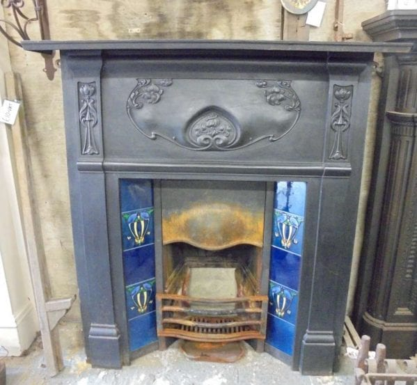 Reclaimed Black Metal Decorative Fireplace