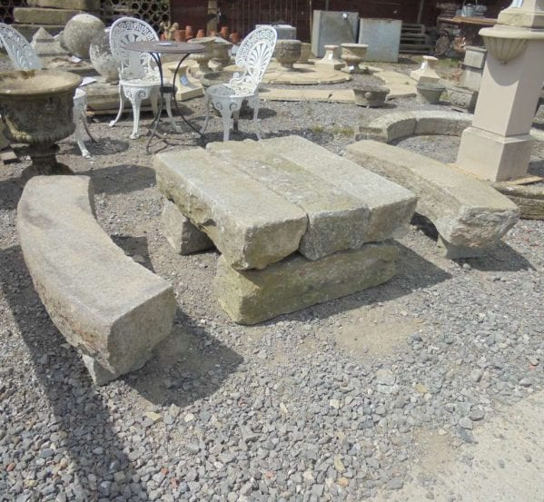 Granite Feature Table Bench Set