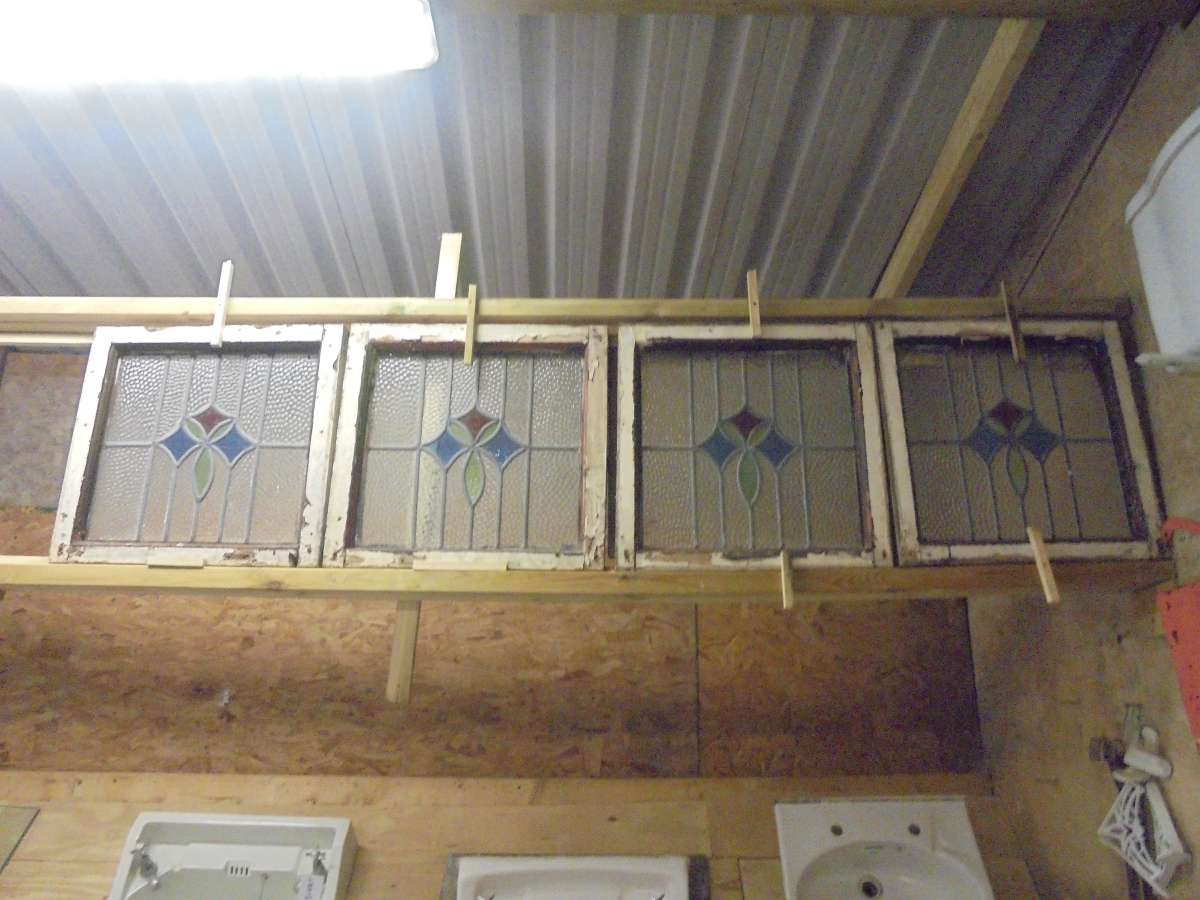 Quad coloured stained glass window