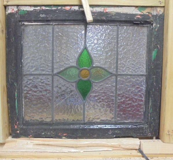 Central green flower stained glass window