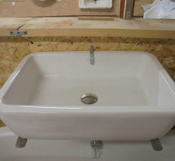 Rectangular reclaimed bathroom sink