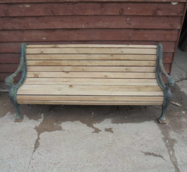 cast iron & oak bench