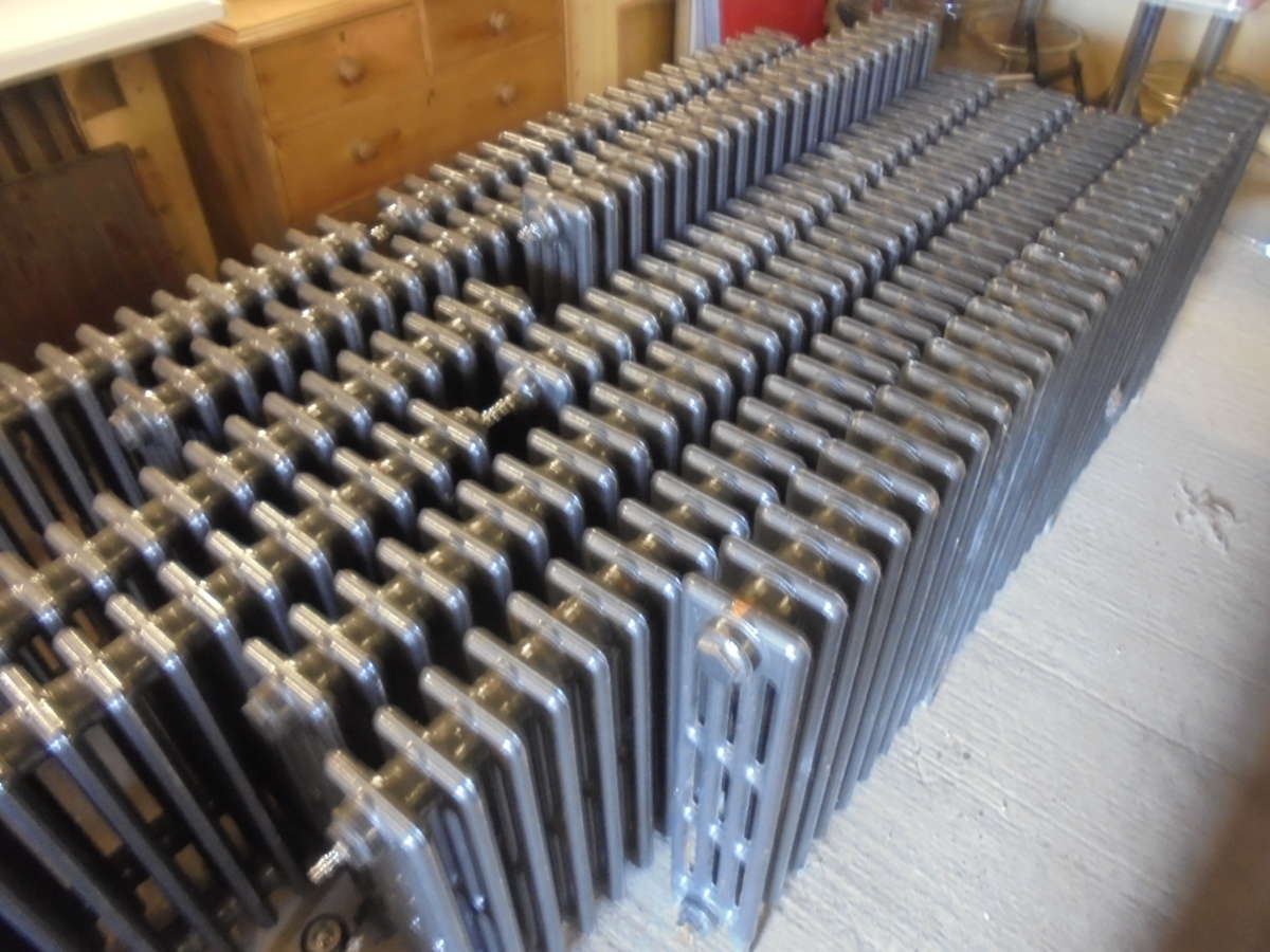 Black reclaimed 4 bar cathedral radiators