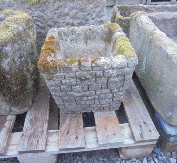 square stone planter