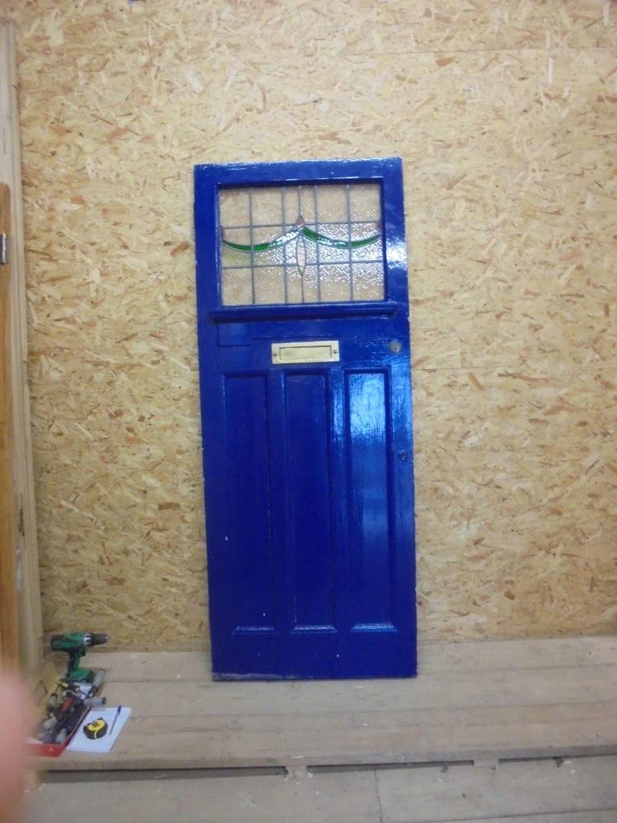 Blue Half Glazed Reclaimed Front Door