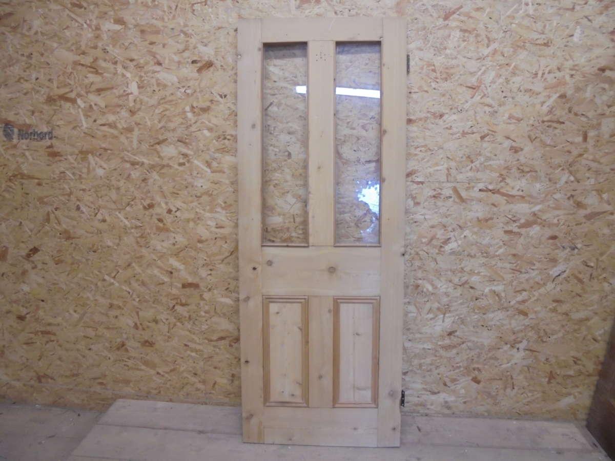 Reclaimed Stripped Half Glazed 4 Panel Door