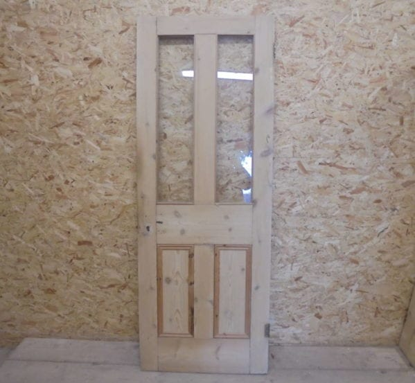Stripped Reclaimed Half Glazed 4 Panel Door