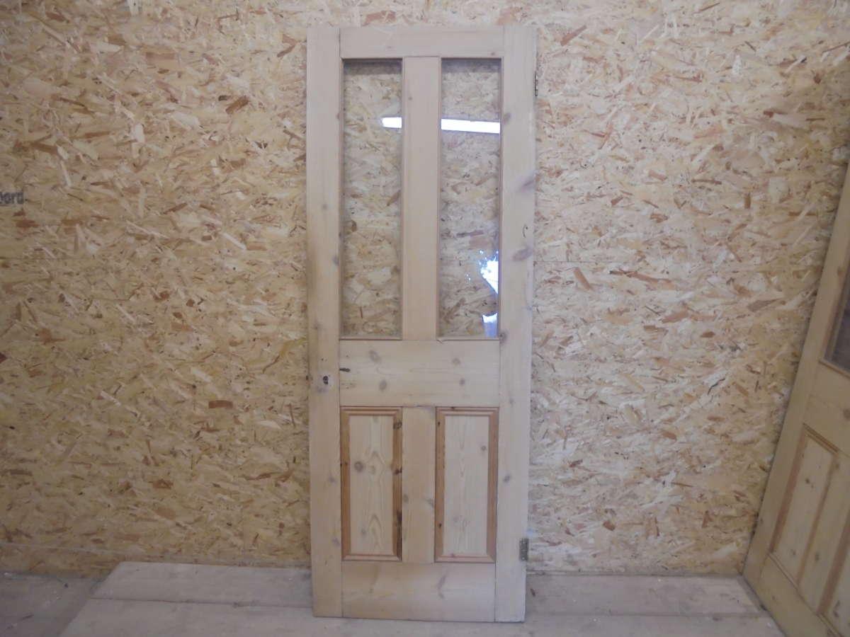 Stripped Reclaimed Half Glazed 4 Panel Door