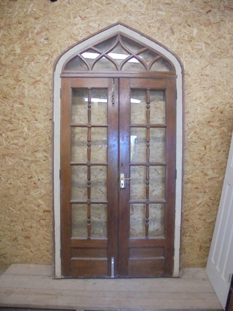 Oak Gothic Revival Glazed Double Doors