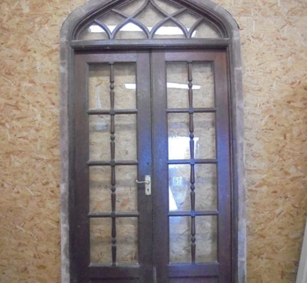 Oak Gothic Revival Glazed Double Doors