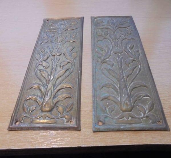 Long Brass Pottery Pattern Push Plate