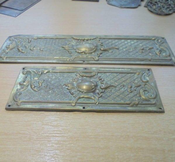 Two Jewel Brass Push Plates