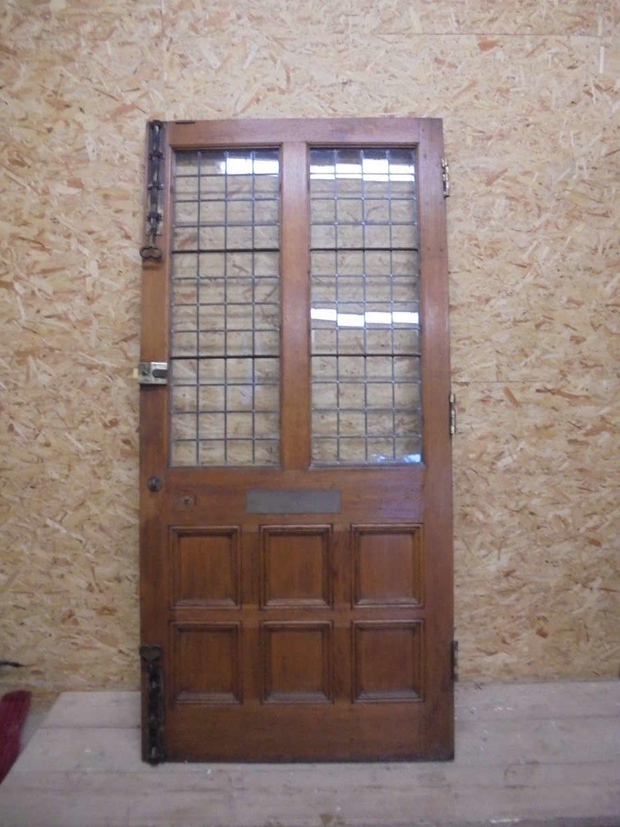 Solid Oak Half Glazed 8 Panel Door
