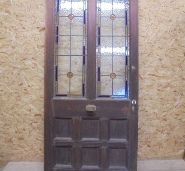 Half Glazed Stained Glass 8 Panel Oak Door