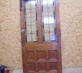Half Glazed Stained Glass 8 Panel Oak Door