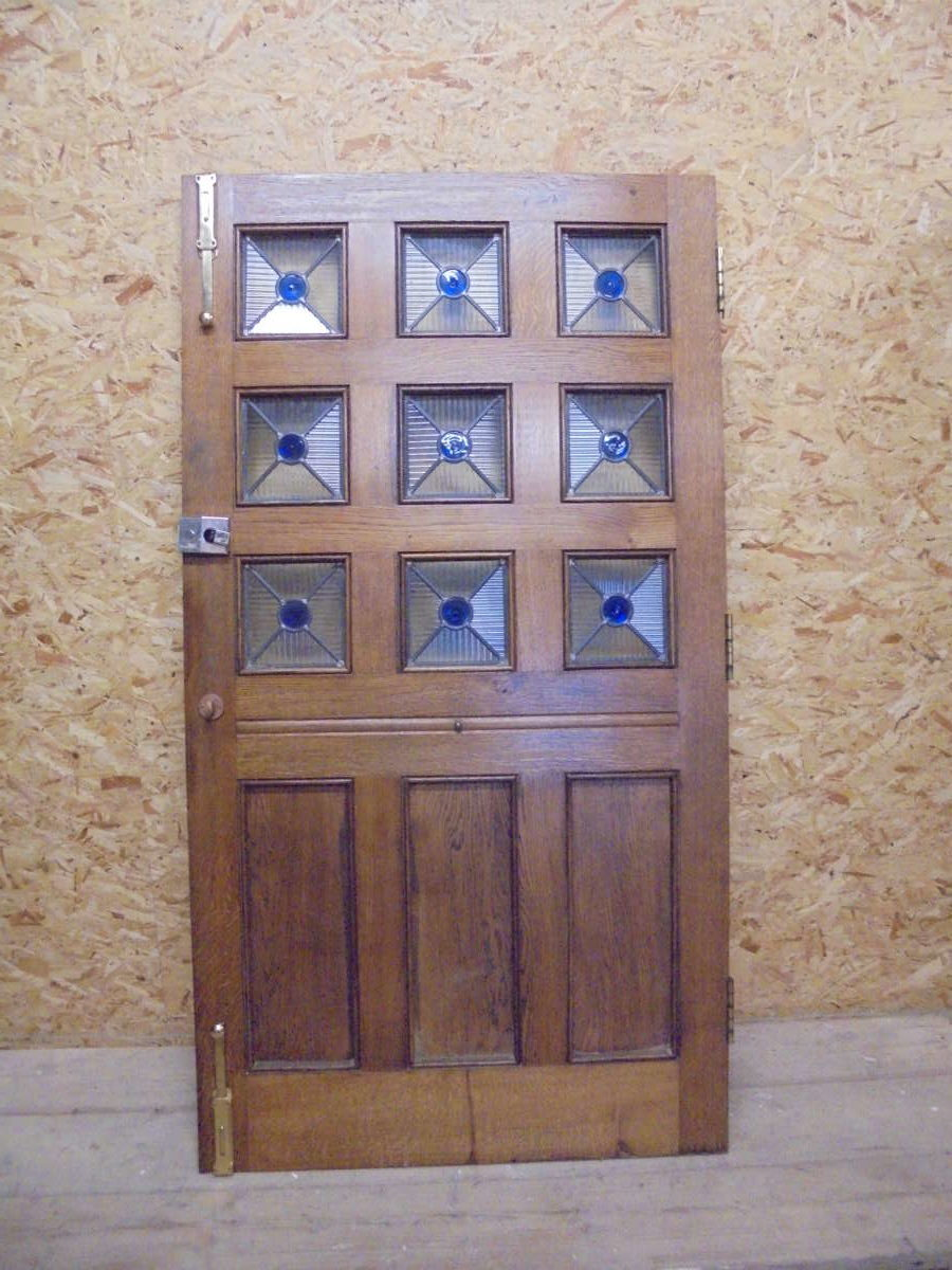 Half Glazed Stained Glass 9 Panel Oak Door