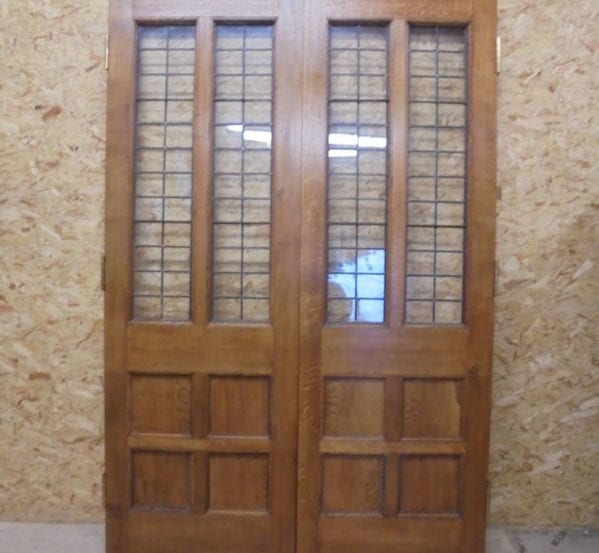 6 Panel Half Glazed Oak Double Doors