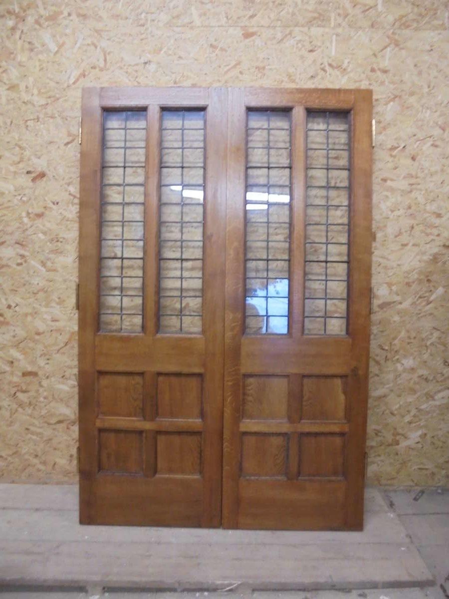 6 Panel Half Glazed Oak Double Doors