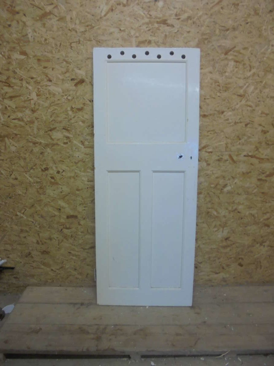 3 Panelled White Painted Door with Ventilation Holes