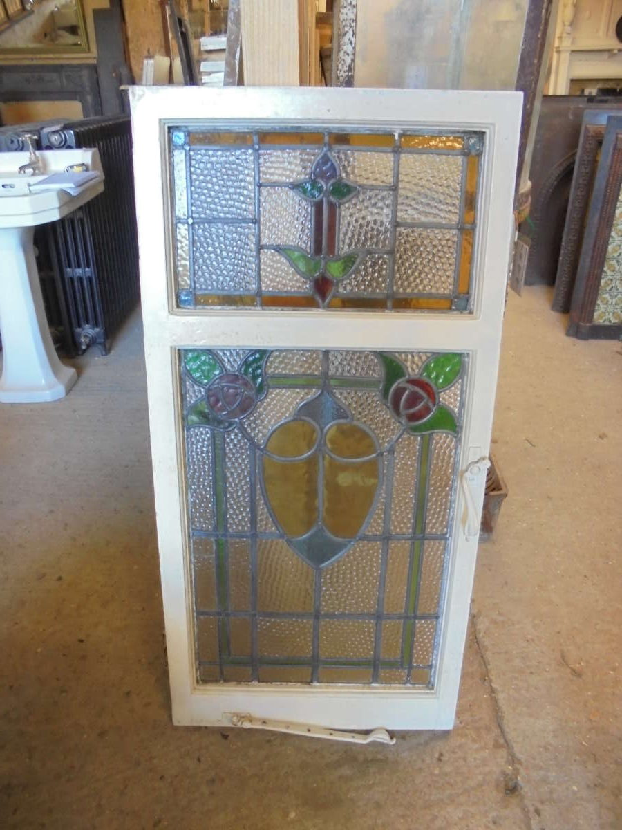 Large Double Rose Stained Glass Window