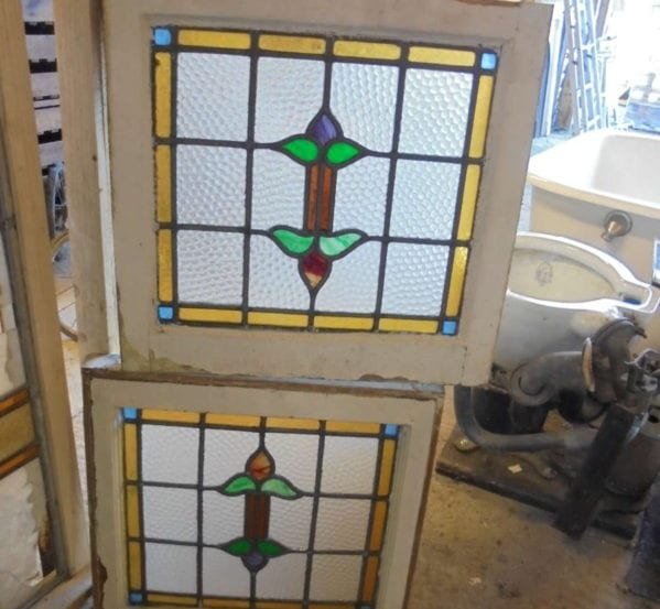 Small Stain Glass Window Pair