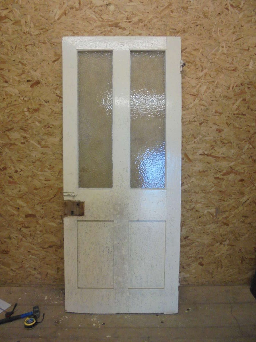Half Glazed Victorian Hotel Door with Bubble Frost Windows