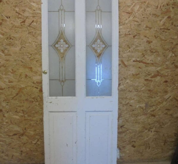Small Painted 4 Panel Bubble Glazed Door