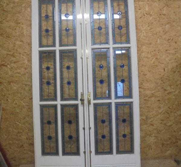 Beautiful Large Double Doors with Stained Glass