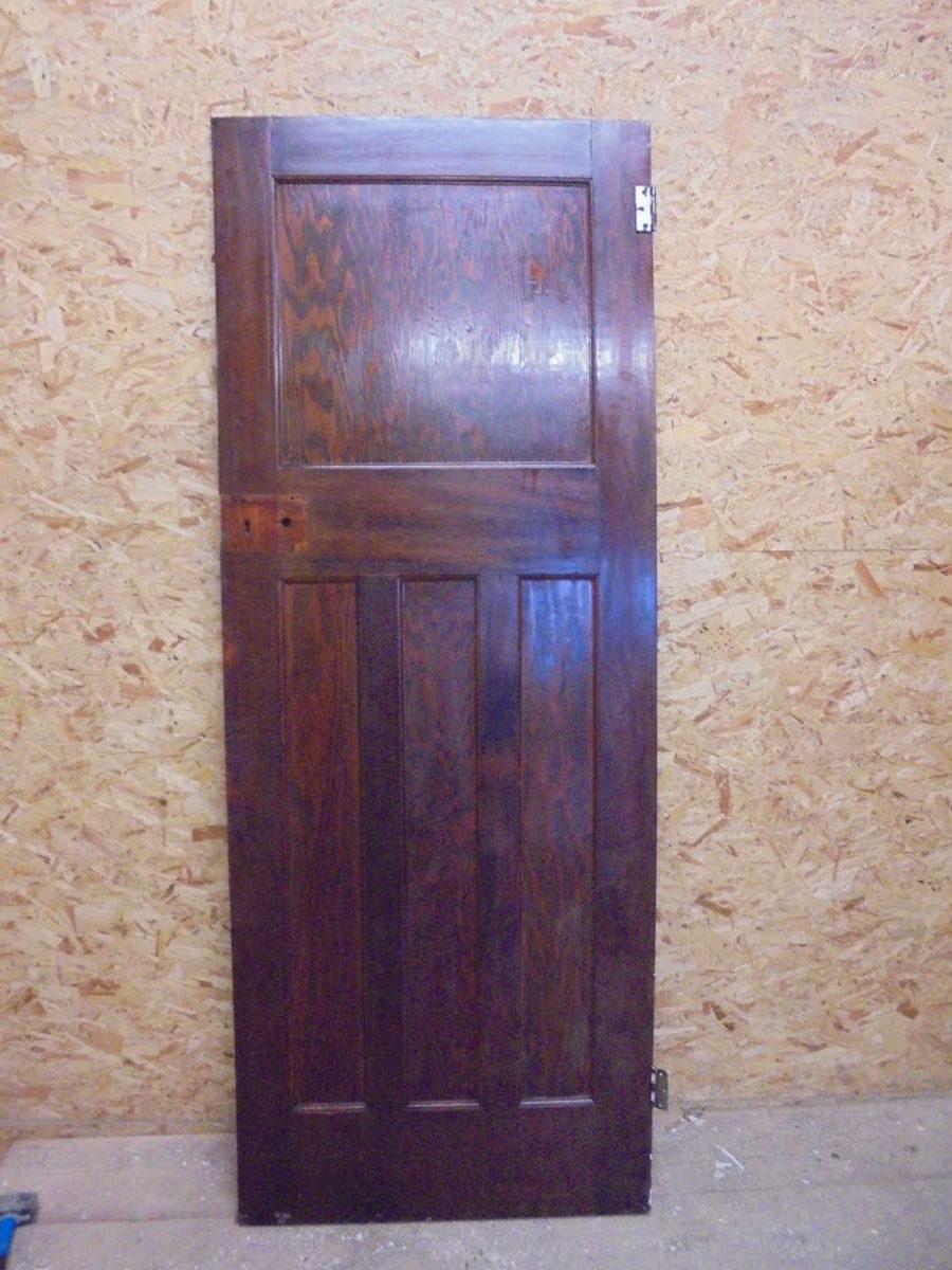 Large Dark Varnish Finish 1 over 3 Panel Door