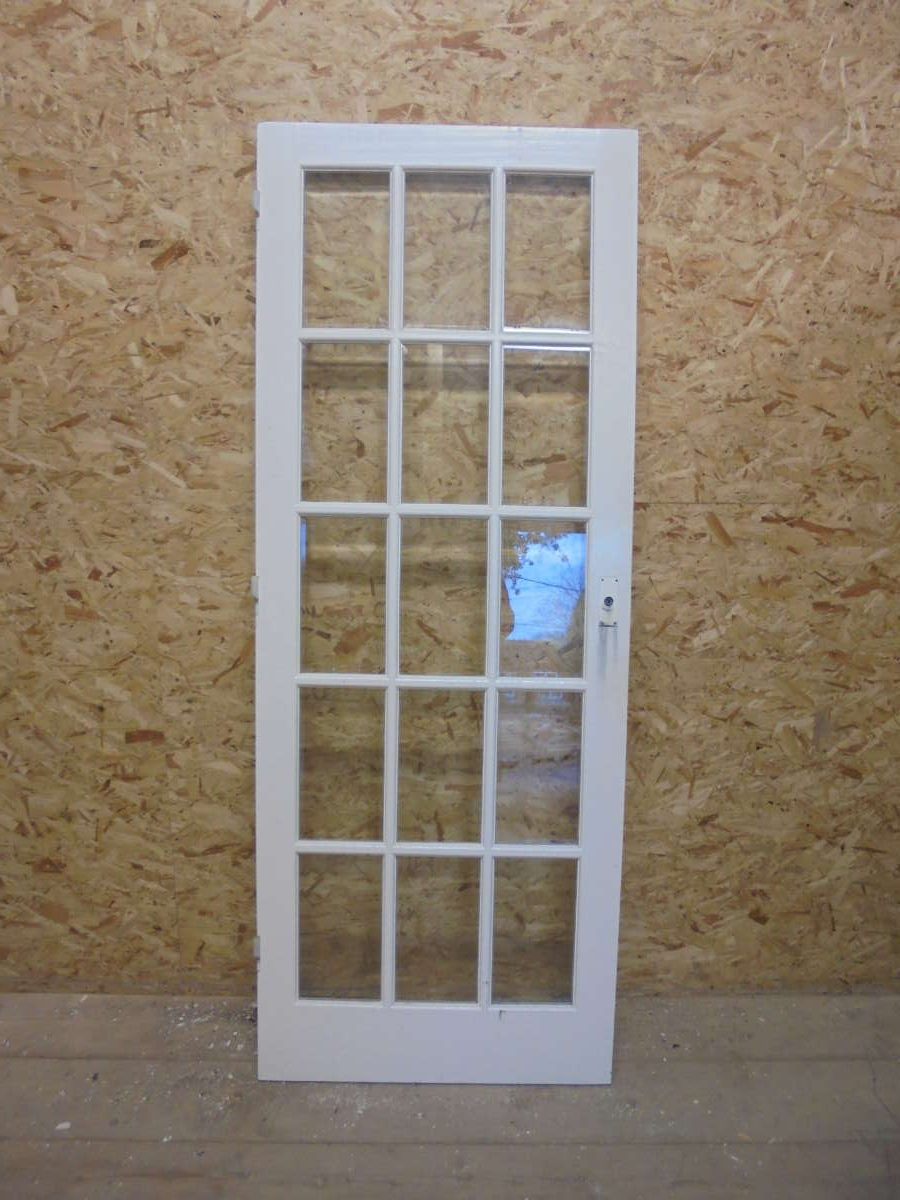 Fully Glazed White Painted 15 Panelled Door