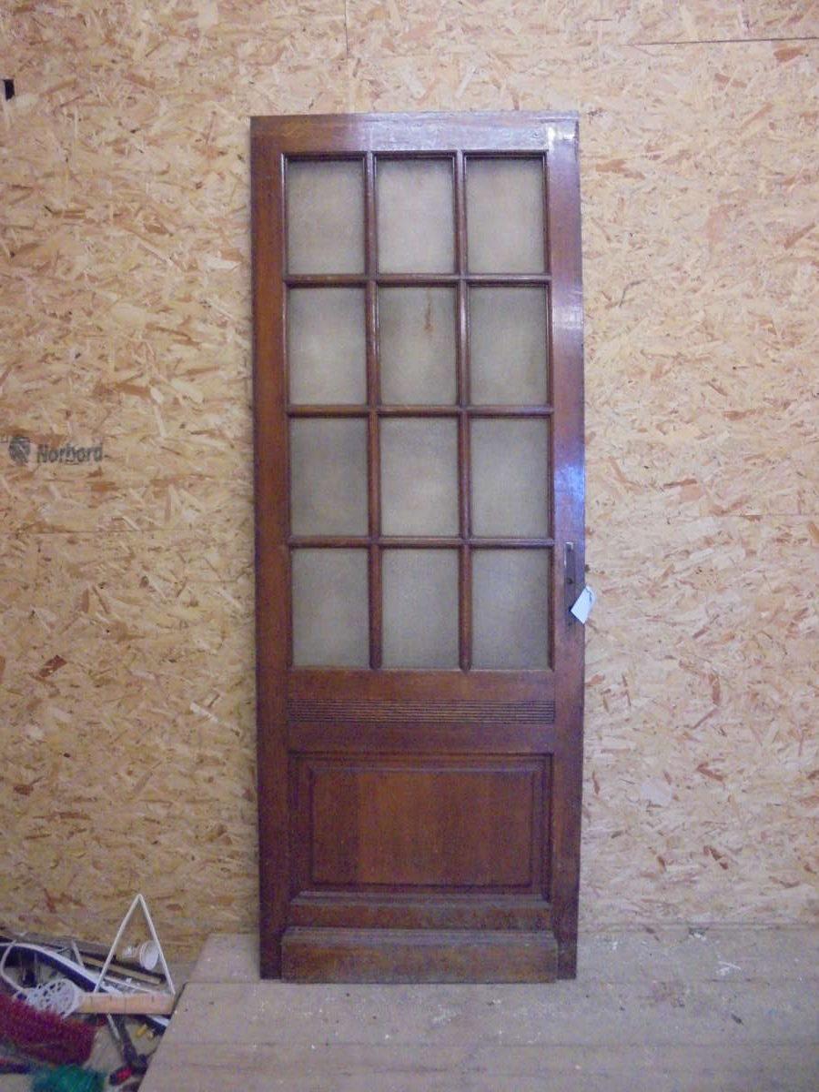 Dark Varnish Glazed 13 Panel Door and Frame