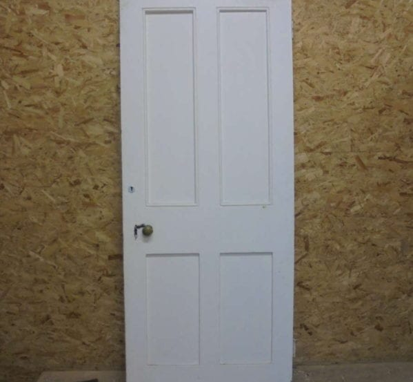 Large 4 Panelled White Painted Door