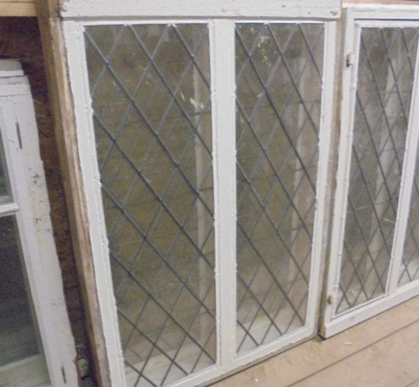 Pair of White Diamond Leaded Windows