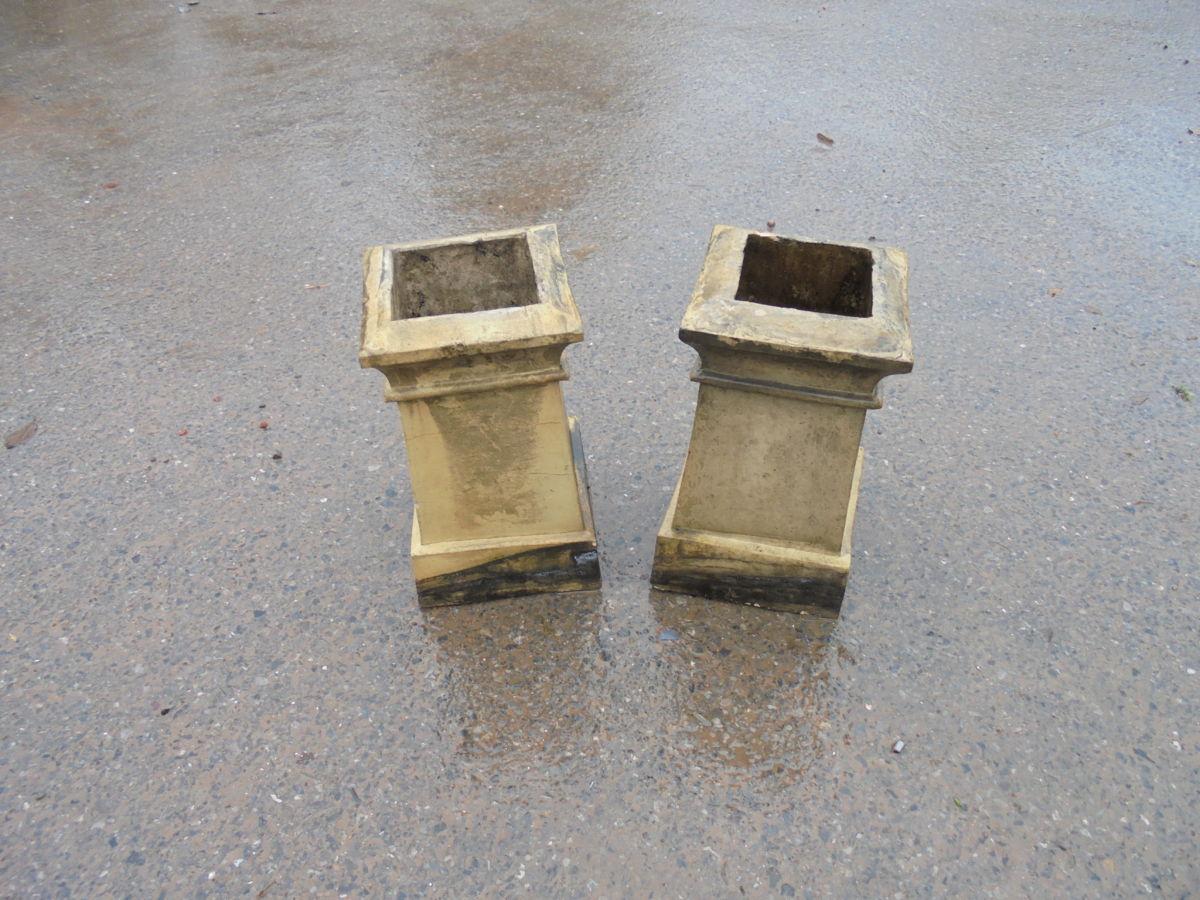Square Base Buff Chimney Pots
